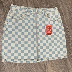Checkered denim mini skirt